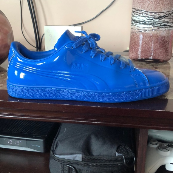 Mens All Blue Patent Leather Pumas